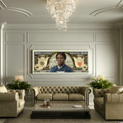 Harriet Tubman money canvas art in living room