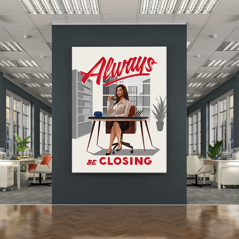 Inktuitive always be closing ABCs sales woman motivational wall canvas art