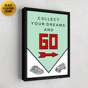 Inktuitive Collect your dreams and go Monopoly motivational canvas art - black floating frame