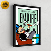 Inktuitive Build an Empire monopoly motivational canvas art - black floating frame
