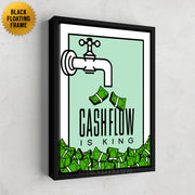 Inktuitive cashflow is king monopoly motivational canvas art - black floating frame
