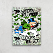 Inktuitive Monopoly Game Changer hard work money modern motivational canvas art