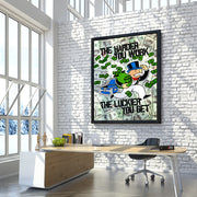Inktuitive Monopoly Game Changer hard work money modern motivational canvas art - black floating frame