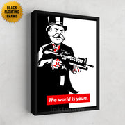 Inktuitive Tony Montana Scarface Monopoly the world is yours modern canvas art - black floating frame