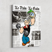 Inktuitive popeye pumps no pain no gain arnold schwarzenegger bodybuilding gym fitness motivational wall canvas art