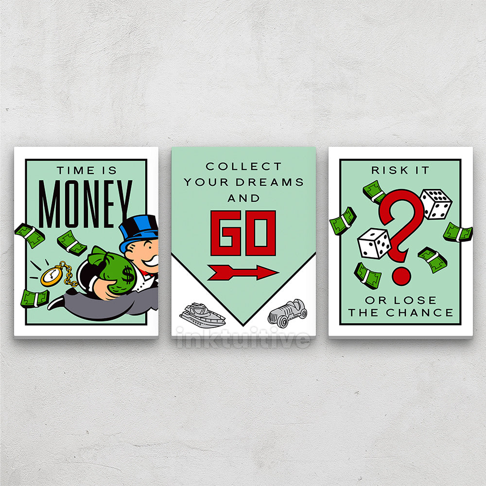 Success Game Monopoly 3 Piece Set Motivational Canvas Wall