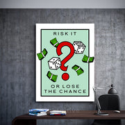 Inktuitive risk it or lose the chance monopoly motivational canvas art