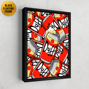 Inktuitive Duff Beer pattern The Simpsons modern motivational canvas art - black floating frame