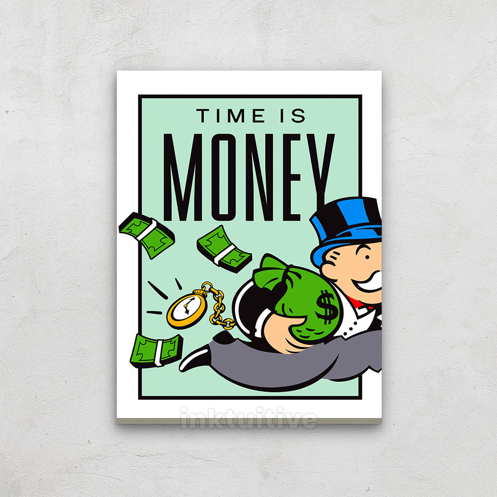 Time Is Money Monopoly Motivational Canvas Wall Art Print