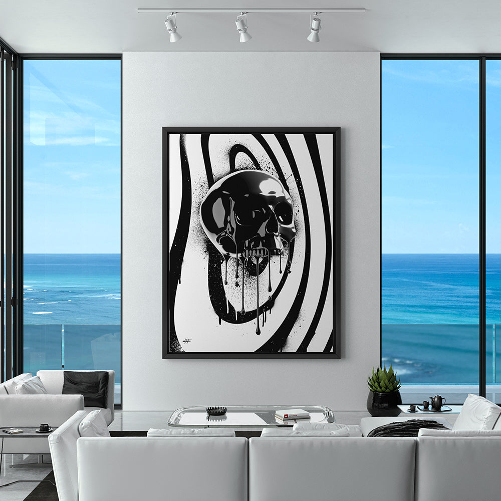 inspirational canvas art of black onyx skull in modern ocean front condo