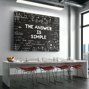 Inspirational wall art of The Answer Is Simple science chalkboard