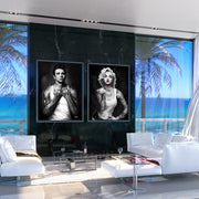 James Dean and Marilyn Monroe wall art in luxury condo