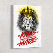 """Kings are Made"", lion motivational canvas art"