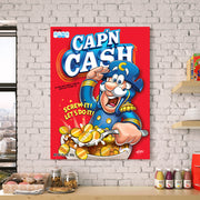 Motivational canvas art of Captain Crunch in Kitchen
