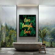 live laugh love positive wall art luxury bathroom inktuitive
