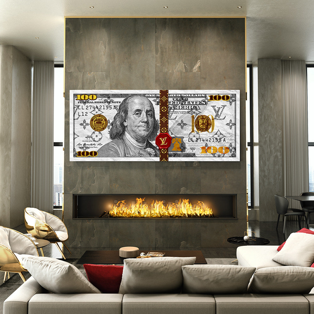 Louis Vuitton wall art money style in living room