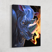 rhino with cigar man cave canvas art