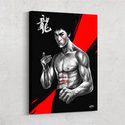 martial arts wall art in red