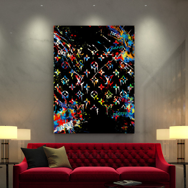 modern canvas art of louis vuitton in luxury living room