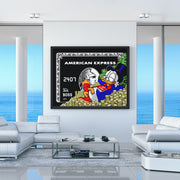 modern canvas wall art of scrooge mcduck amex black card in luxury condo