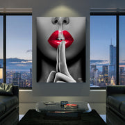 modern canvas wall art of smoking kiss in living room