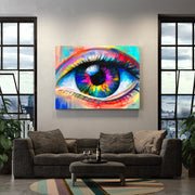 Modern colorful wall decor of eye in living room.