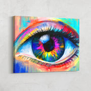 Modern colorful wall decor of eye.
