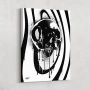 modern inspirational canvas art of black onyx skull designed by inktuitive