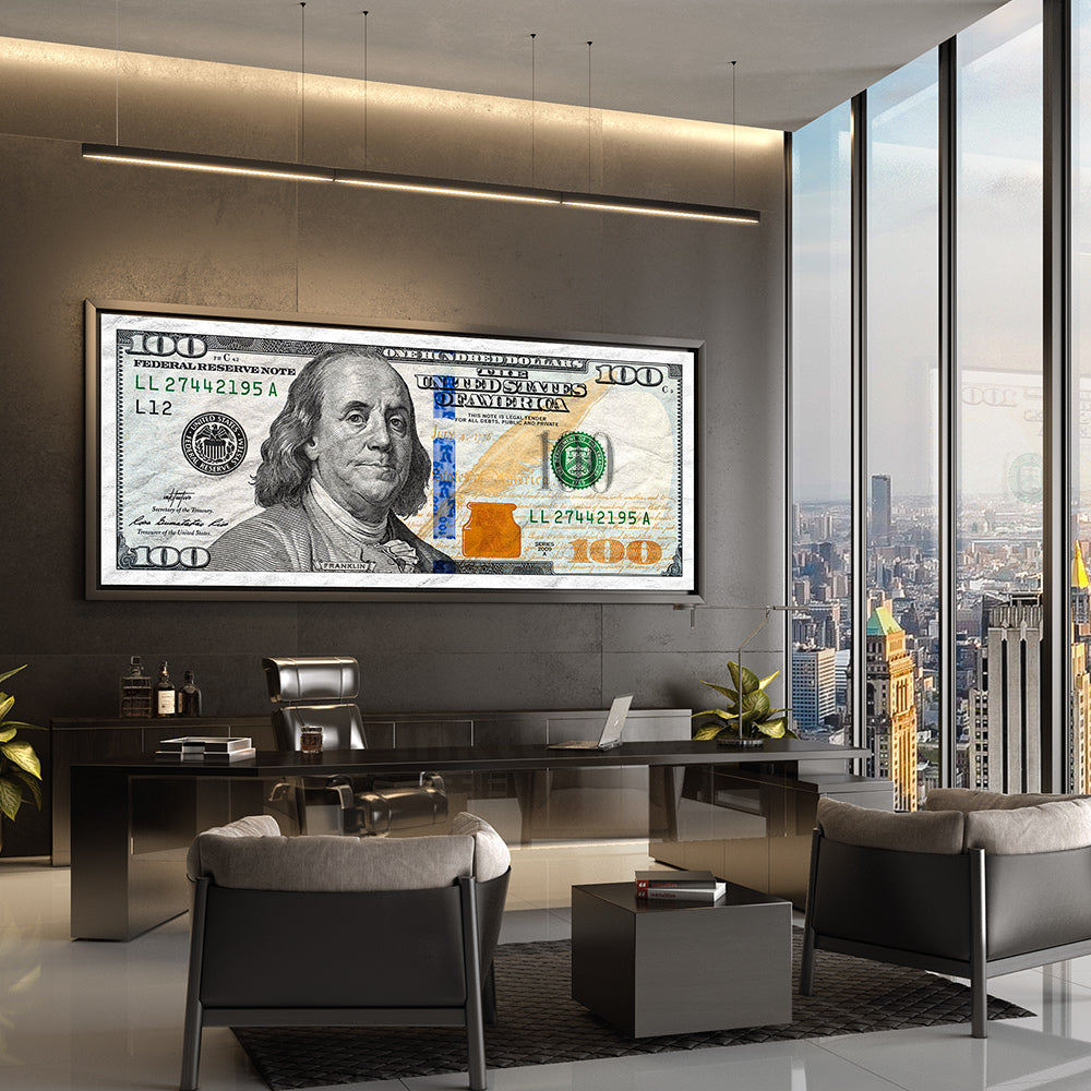 money 100 dollar bill motivational wall art by inktuitive
