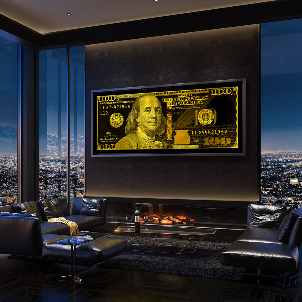 Money motivational wall art in modern condo by Inktuitive