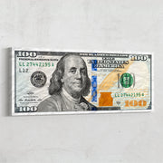 Money wall art of 100 dollar Ben Franklin by Inktuitive