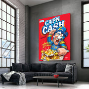 Motivational canvas art of cereal box in living room