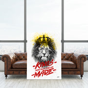 "Motivational canvas art, ""Kings Are Made"" for office."