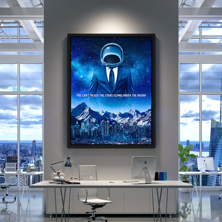 Motivational canvas art of space astronaut for office