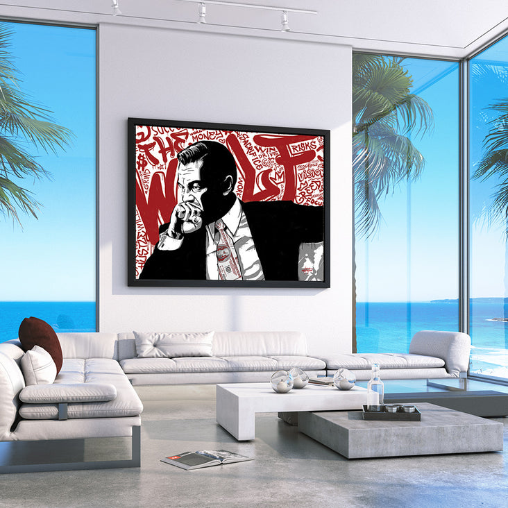 Motivational canvas art of Wolf of Wall Street in condo