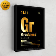 """Periodic Greatness"" science theme motivational wall art in gold"