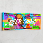 Motivational wall art colorful 100 dollar Benjamin Franklin bill designed by Inktuitive