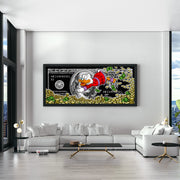 Motivational wall art in modern living room featuring Scrooge McDuck money art.