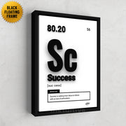 motivational wall art using periodic table element 'Success' with black floating frame designed by Inktuitive
