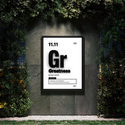 Motivational wall art of the word greatness similar to periodic table element.