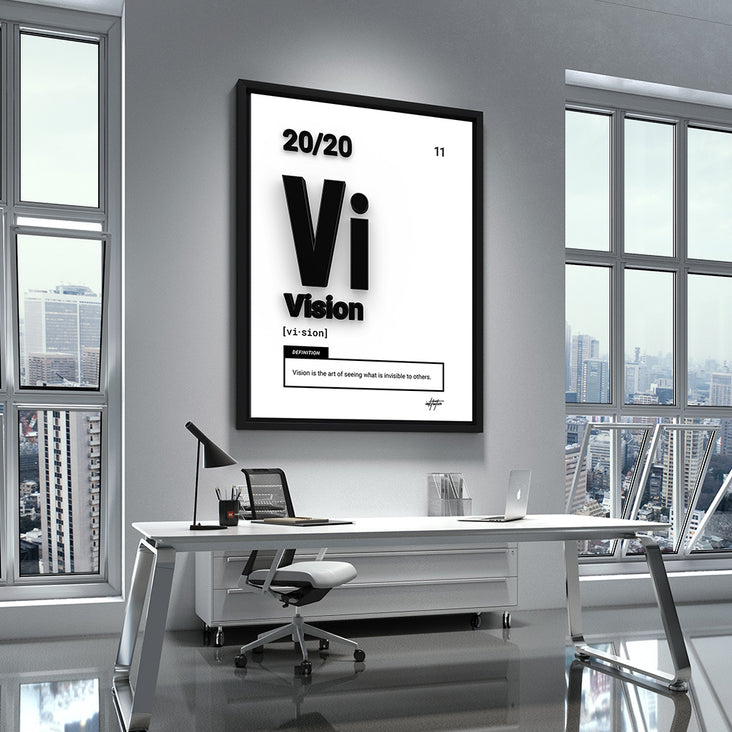 'Vision' motivational wall art in a white modern office