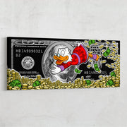 Motivational wall art Scrooge McDuck 100 dollar bill