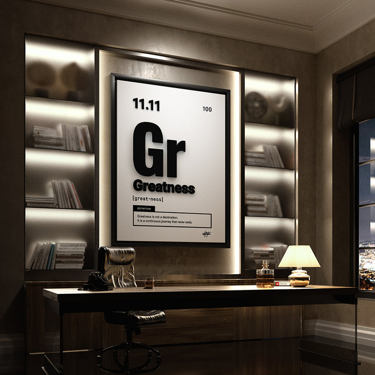 Motivational wall art of the word Greatness similar to periodic table elements in a luxury office.