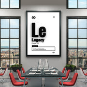 Motivational wall art in a modern office with the word Legacy