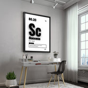 Motivational wall art using the word 'Success' in a modern home office