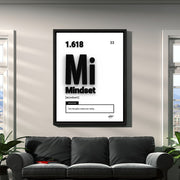 Motivational wall art of word 'Mindset' above a grey suede couch