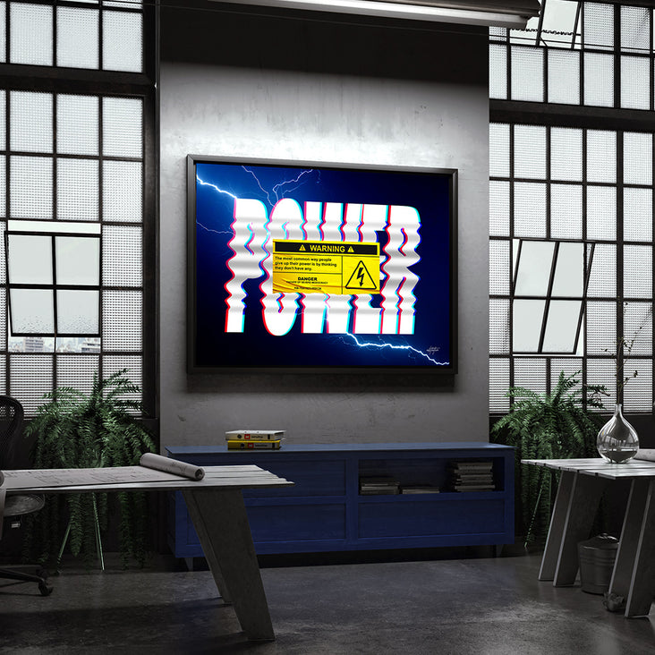 Power warning canvas art for office warehouse.