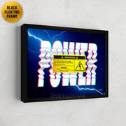 Power warning electrical framed canvas art.