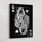 queen of hearts playing card in black and silver wall decor