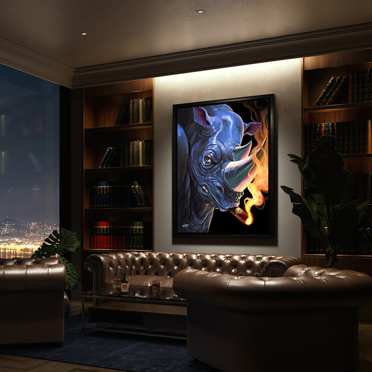 canvas art of rhino with cigar in a living room